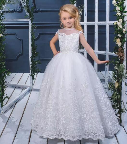 2018 Customized Size Flower Girl Dresses For Wedding Lace Applique Jewel Neck Ball Gowns Girls Pageant Dresses fashionable lace panelled jewel neck slit top for women