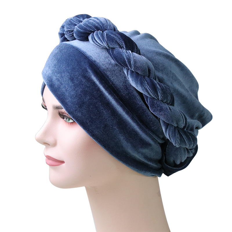 Image 5 - Muslim Women Hemp Flower Braid Cross Velvet Turban Hat Scarf 