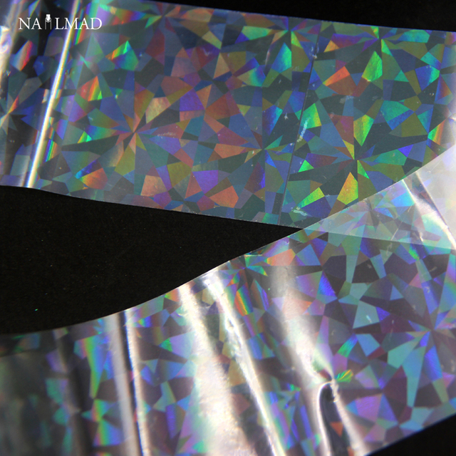US $0 99 |1 roll 4*100CM Holographic Nail Foils Laser Transparent Shattered  Glass Shape Nail Art Transfer Foil Transfer Sticker Paper C142-in Stickers