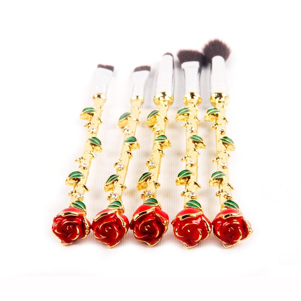 ANGNYA 5PCs/Set Romantic Valentine's Day Rose and Leaf Style Nylon Foundation Makeup Brush Golden Handle Brushes Cosmetic Tool