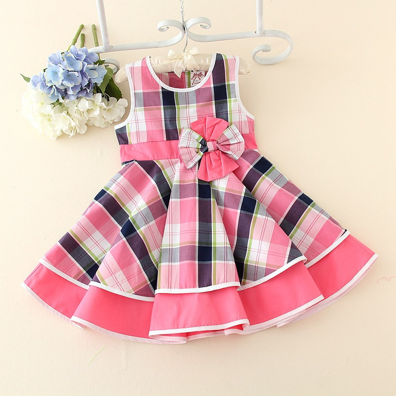 Branded Baby Girls Cute Cotton Dress Children Sleeveless Party Bow Waist Kids Grid Bubble Summer