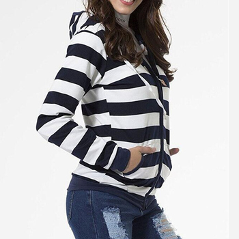 2019 Autumn Women Striped Hoodies Sweatshirt Long Sleeve Hooded Zipper Pockets Jackets Casual Plus Size Tracksuit Womens Clothes 1