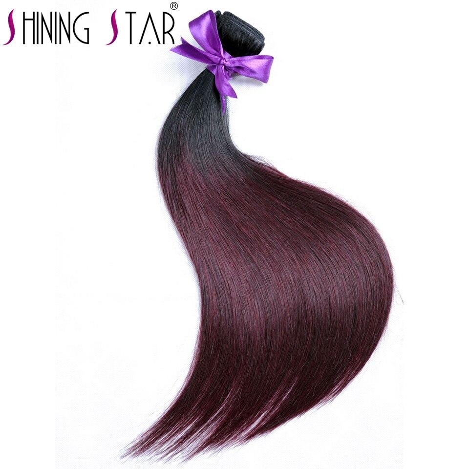 Ombre Brazilian Straight Human Hair Weave Bundles 1B 99J/Burgundy Bundles Shining Star Non Remy Hair Extension 1Piece No Tangle