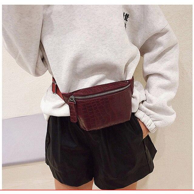 מותניים תיק נשים עור מפוצל פאני חבילת אופנה חגורת תיק נשים טלפון פאוץ מקרית שחור חזה שקיות בנות כתף תרמיל B135