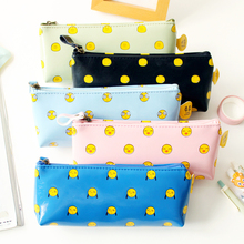 Funny face leather pencil bag stationery box school children gift office supplies kawaii