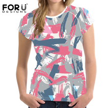 FORUDESIGNS Green Women Camouflage T shirt Casual Summer T-shirt Bright t-shirt Womens bff Tops Female Vogue Trend 2018