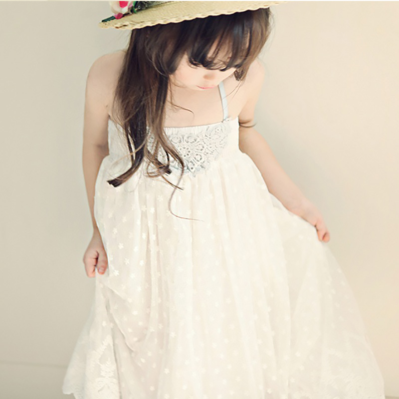 lace crochet flowers girls dress summer 2018 sleeveless maxi long mesh white kids dresses for girls holiday beach sundress new summer style girls dresses fashion knee length beach dresses for girls sleeveless bohemian children sundress girls yellow 3t