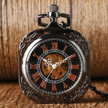 Stylish Women Mechanical Steampunk Luxury Necklace Pendant Chain Black Open Face Pocket Watch Hand-winding Cool Gift FOB Watch