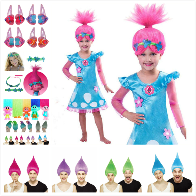 Trolls Girls Dresses Poppy Cosplay Costumes Dress For Girls Hairclip Props Headwear Halloween Clothes Kids Fancy Dress Girl Wig