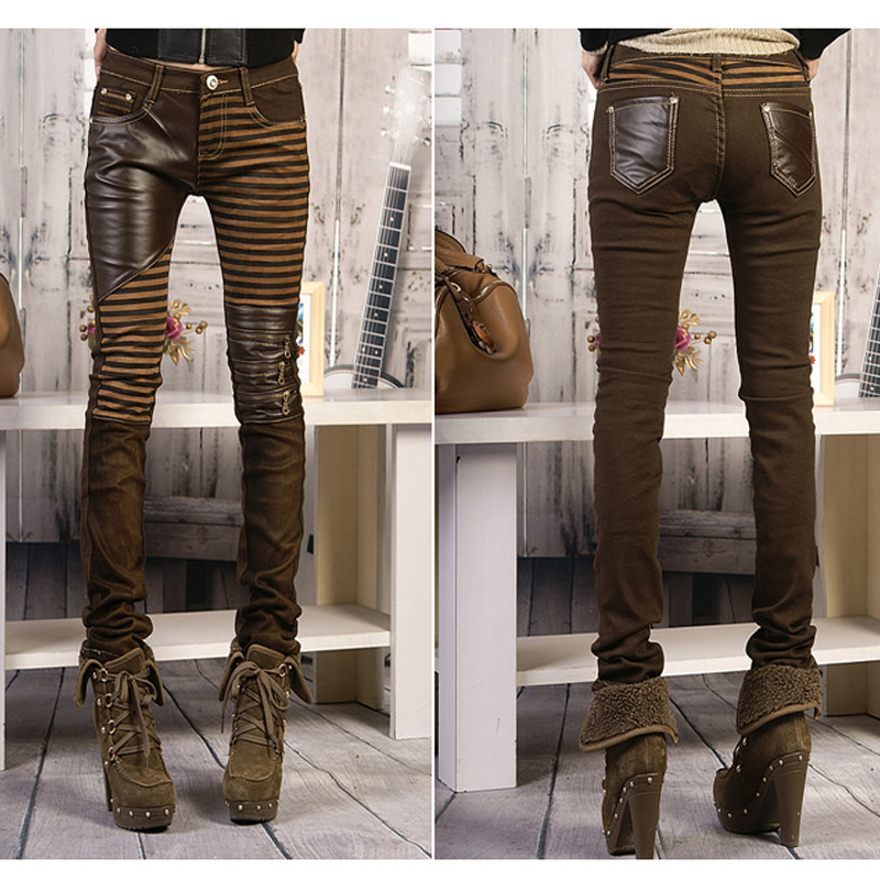 High Quality Women PU Leather Pants New Fashion Female Patchwork Zippers Boots Trousers Long Pencil Pants Brown Black