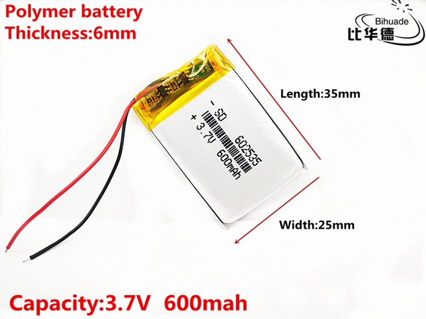 Size 602535 <font><b>3.7v</b></font> <font><b>600mAh</b></font> li-ion Lipo cells Lithium Li-Po Polymer Rechargeable Battery For Car DVR Tachograph Bluetooth speaker image