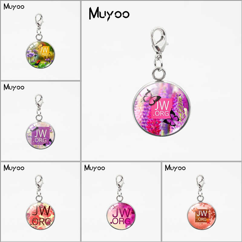 Beauty Flower JW.ORG Signs Round Glass Dome Charms Jehovah Witness Jewelry Stainless Steel Pendants Women Men Gifts Jewelry