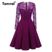 Tonval V Neck Sexy Buttons Long Sleeve Floral Lace Dress Vintage Women Elegant Retro Evening Party