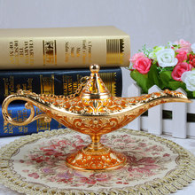 Lámpara Aladino de tamaño XL, decoración Vintage para el hogar, artesanía de Metal, adornos antiguos, regalo de cumpleaños, colección de escritorio para el hogar
