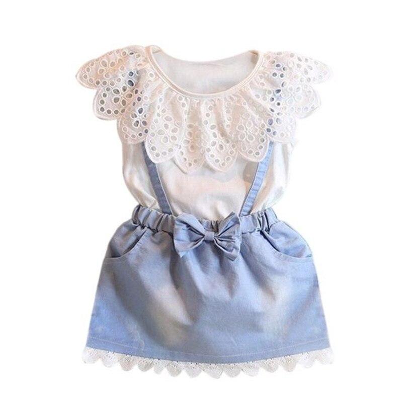 2017 Hot Sale Baby Kids Girls Dress Princess Party Denim Cotton Fancy Flower Tutu Dresses