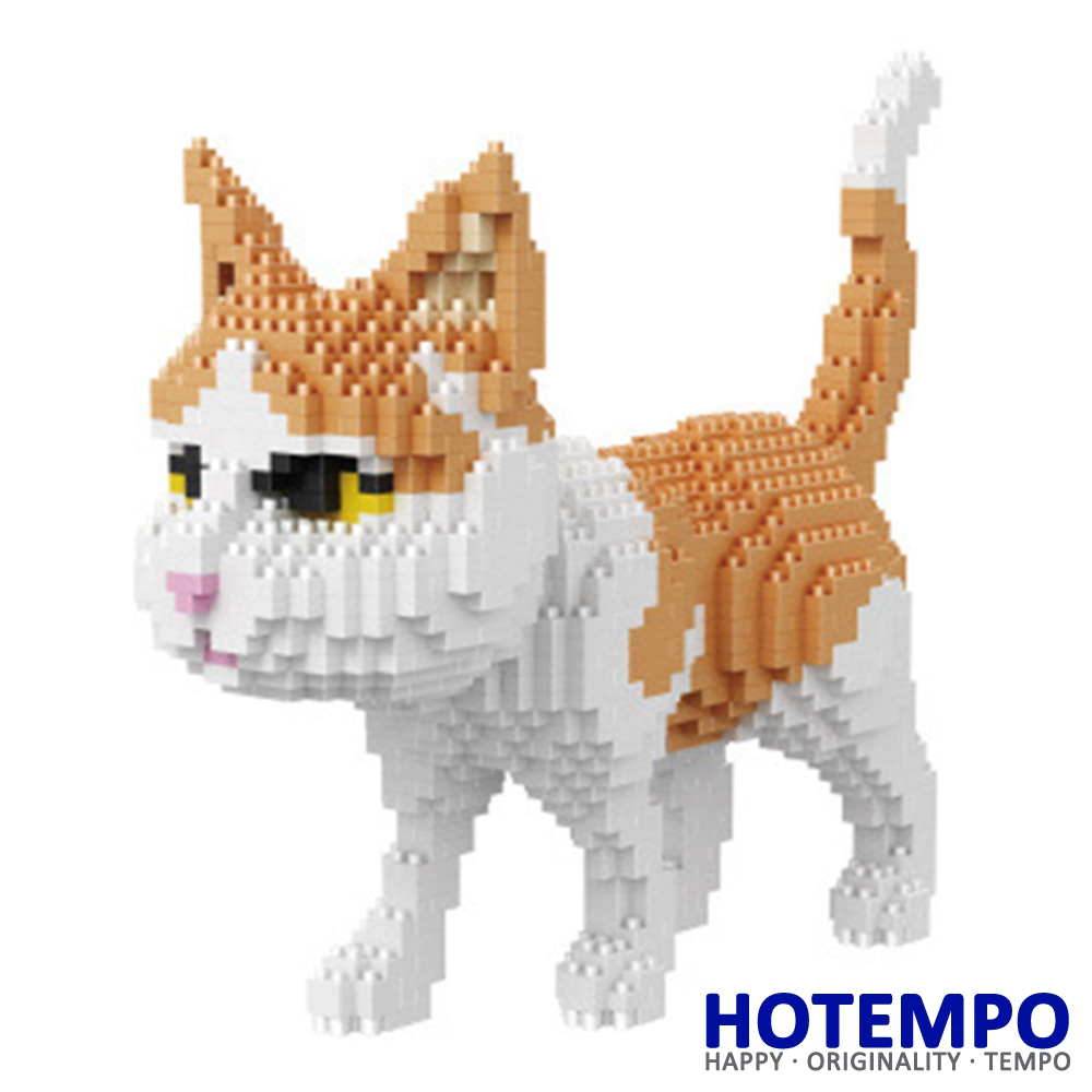 HOTEMPO Big size Cute Cat 1390pcs Sitting Model Action Figure DIY Mini Building Blocks Bricks Educational Toys 16037 1500 2200 pcs big size plastic cute cartoon designs of mini nano blocks diamond mini block toys for children diy game