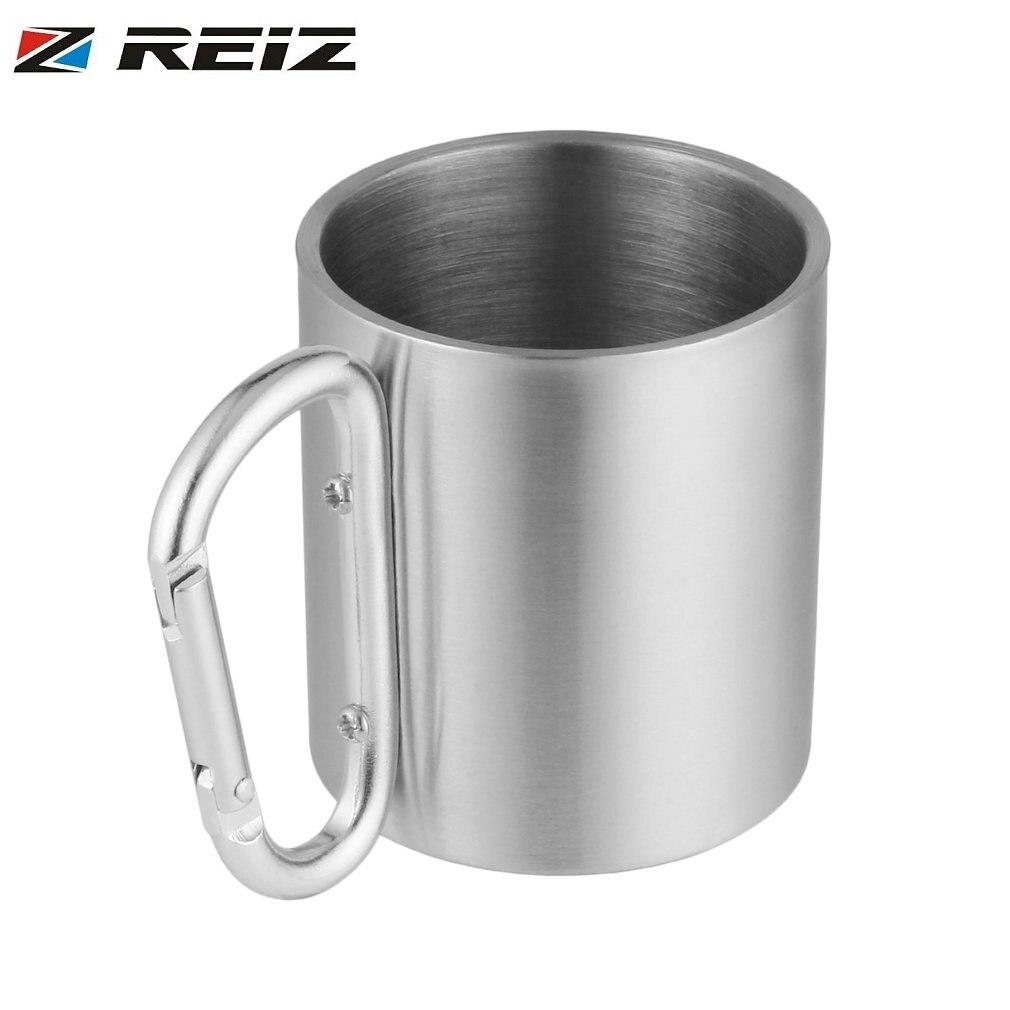 Portable Outdoor Hiking Camping Climbing Tools Self Lock Carabiner Handle Cup Stainless Steel Water Tea Coffee Mug Tool