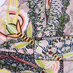 Image 2 - High Style Floral Print Square 100% Silk Twill Scarf Wraps Women Head Scarves Hijab Shawl Foulard 88*88cm