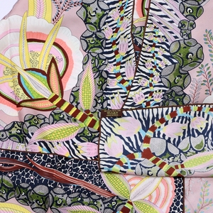 Image 2 - Phong Cách cao cấp Họa Tiết VUÔNG 100% Lụa Hai Dây Khăn Len Nữ Đầu Khăn Hijab Khăn Choàng Foulard 88*88cm
