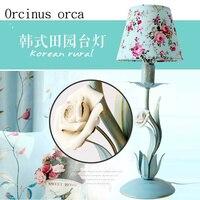 The Mediterranean iron Flower table lamp princess room children bedroom bedlamp Korean small fresh and lovely floral lamp