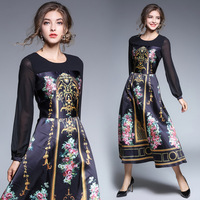 Europe Early Autumn Dresses Retro Fashion Slim Long Royal Stamp Dress Vestidos Vadim Dresses Robe Femme