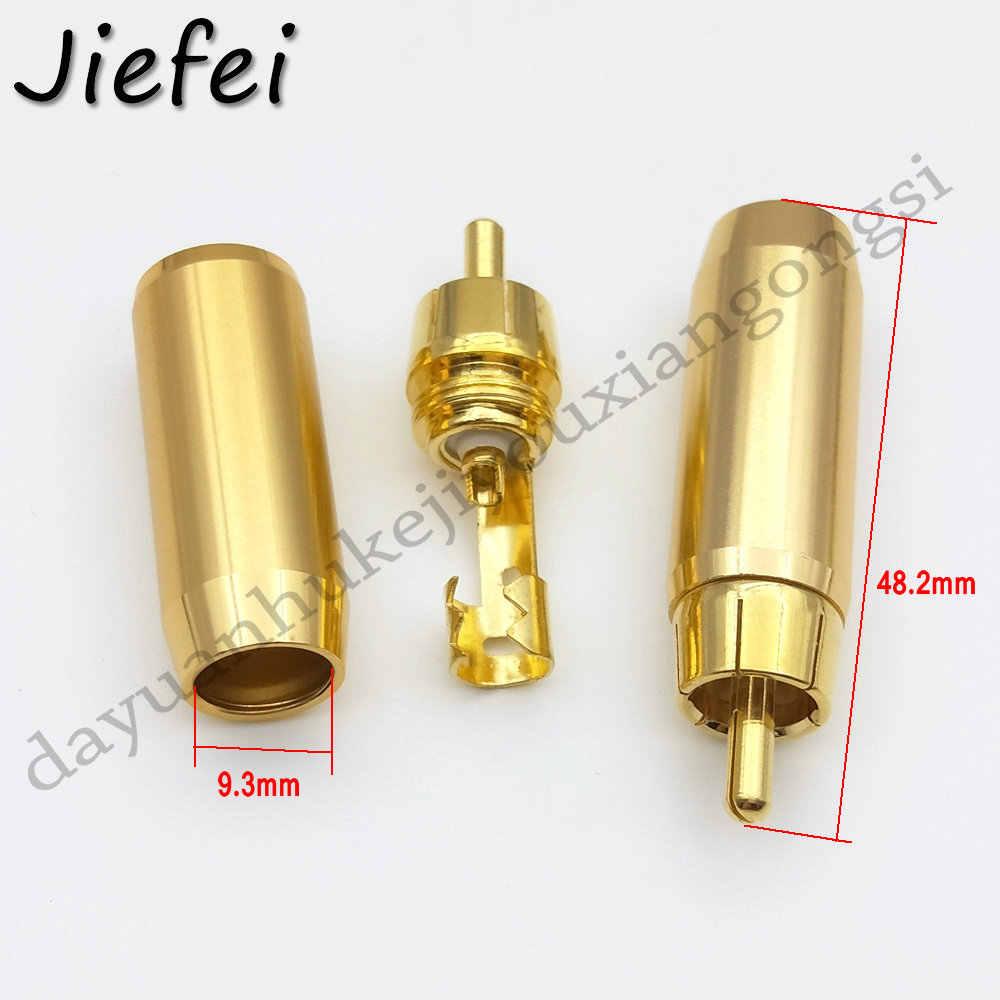 1pcs New 24K Banhado A Ouro de cobre de Alta Qualidade RCA Macho Ficha de Áudio Profissional Orador Plug Jack Conector Do Fio