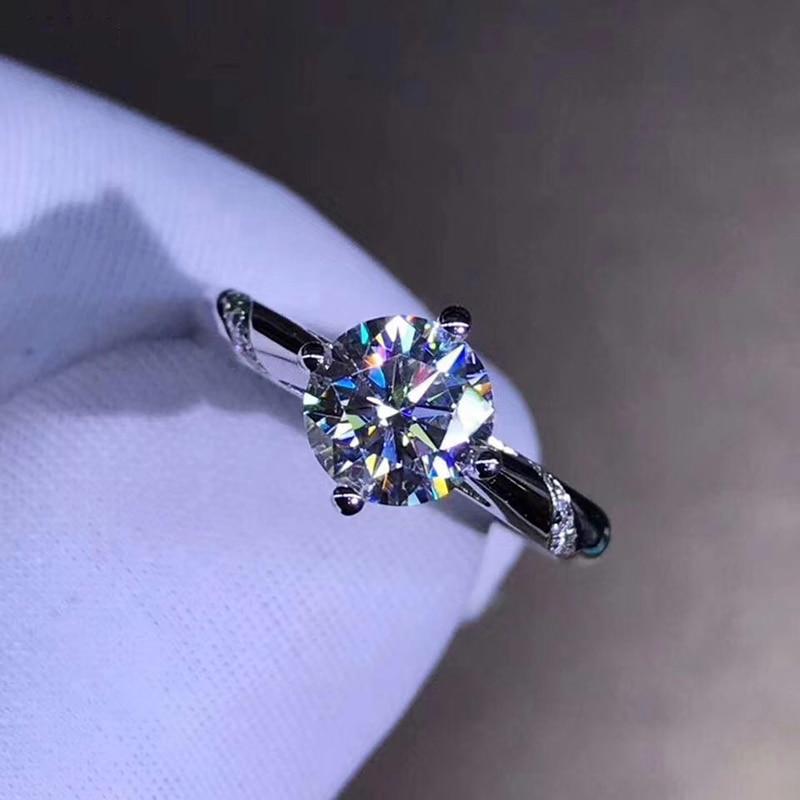 14K Weiß Gold 1ct 2ct 3ct Moissanite Luxus Diamant Ring schmuck Hochzeit Party Engagement Diamond Ring-in Ringe aus Schmuck und Accessoires bei  Gruppe 2