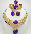 Top Exquisite Dubai Jewelry Set Luxury  Gold Plated Big Nigerian Wedding African Beads Jewelry Set Costume Design Heni1