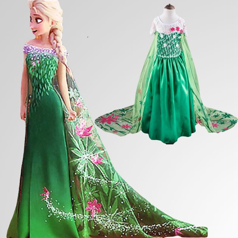 Elza Dress Anna Vestido Robe Princess Elsa Wedding Ana Disfraz Vestido Princesa Girl Lnfant Princesas Azul Fille Vestidos платье для девочек new 2015 vestido disfraz princesa sofia princesinha roupas infantil meninas p06