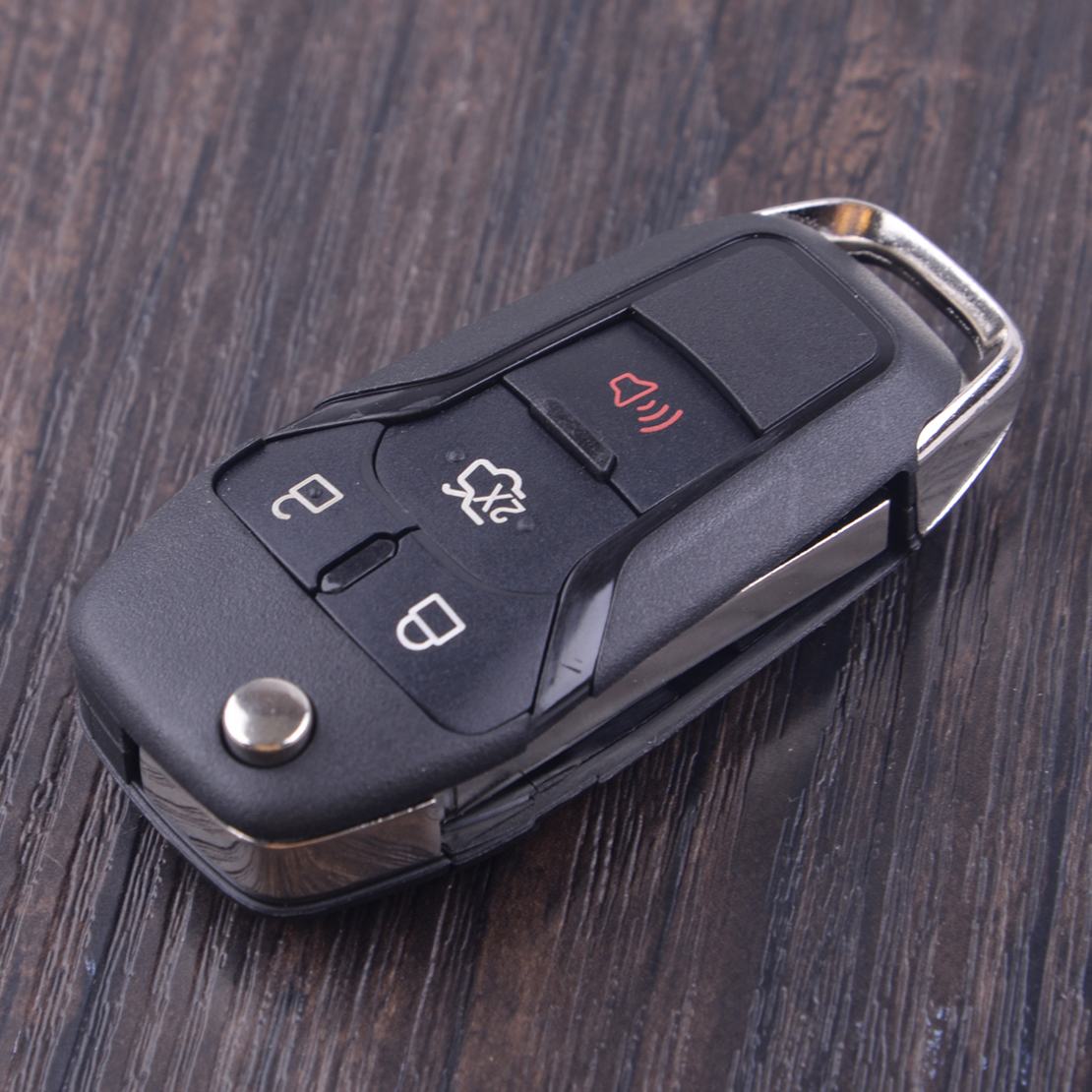 CITALL 4 Buttons Car Flip Remote <font><b>Key</b></font> Shell Case Fob Replacement with uncut blade for <font><b>Ford</b></font> <font><b>Fusion</b></font> Edge Explorer 2013 2014 <font><b>2015</b></font> image