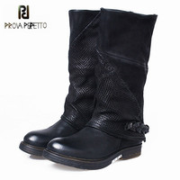 Prova Perfetto Black British Genuine Leather Women Martin Boots Flat Shoes Woman Female Mid Calf Platform
