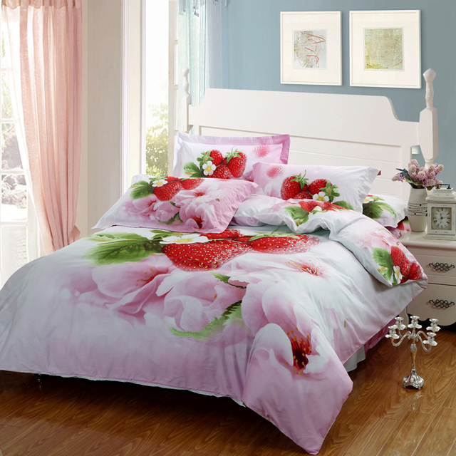 3D Strawberry Pink Floral Girls Bedding Set Queen Size Pure Cotton Fabric  Bedroom Sets 4pcs Duvet