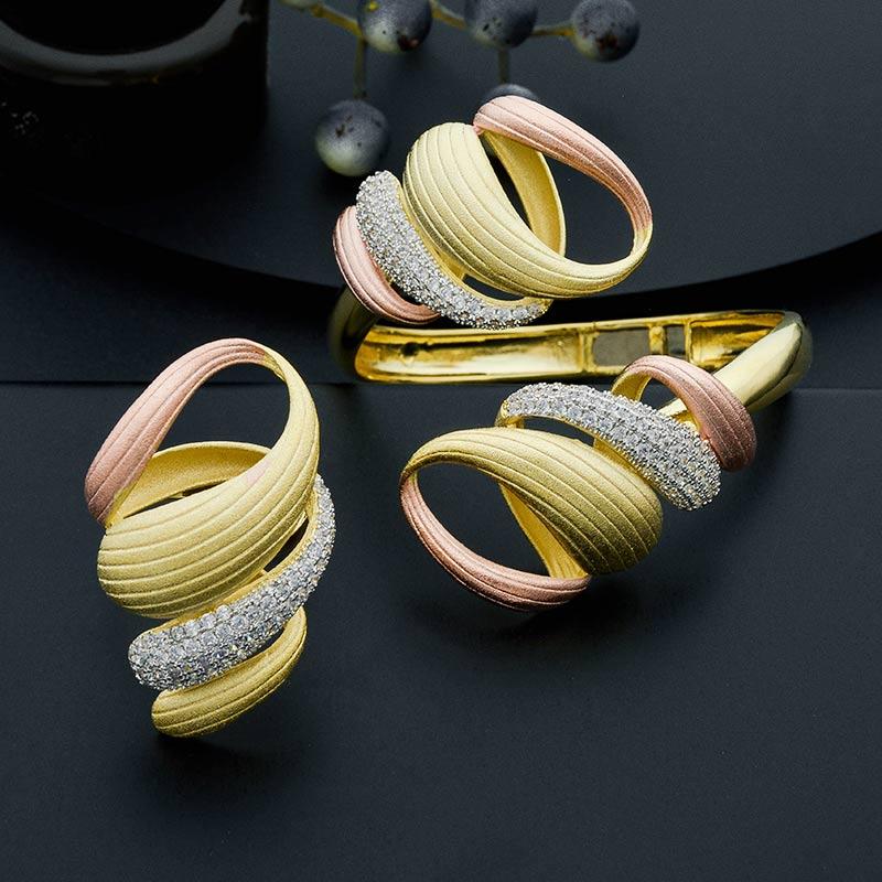 ModemAngel Luxury Exaggeration Line Luxury Cubic Zirconia Three Tone Copper For Women Wedding Engagement Bangle Ring