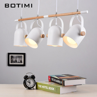 Botimi Unique Pendant Light For Dining Modern Wooden Hanging Lights With Metal Lampshades E27 LED Suspension