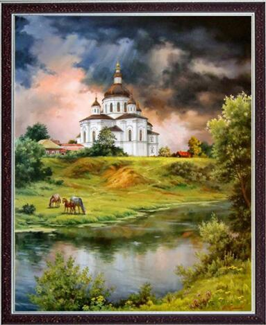 Cross Stitch Kits Crafts 14CT Unprinted River Scenery Church For Embroidered Handmade Art DMC Oil Painting
