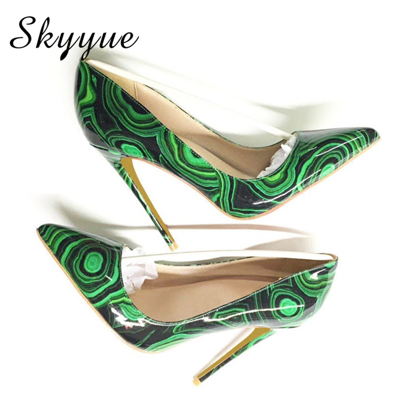 Hot Sale Printed Leather Pointed Toe Women 12cm HIgh Heels Sexy Slip On Women Summer Pumps Shoes Women size 43 44 Wedding Shoes hot sale pointed toe buckle charm fashion wedding shoes genuine leather sexy red pumps women pumps high quality high heels shoes