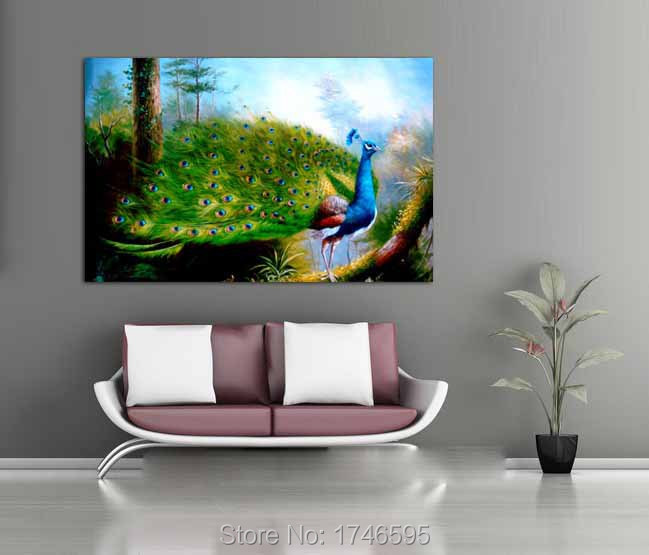 Modern Living Room Decor Home Decorative Abstract Beautiful Wall Art Picture Printed Peacock Oil Painting On Canvas Art Prints