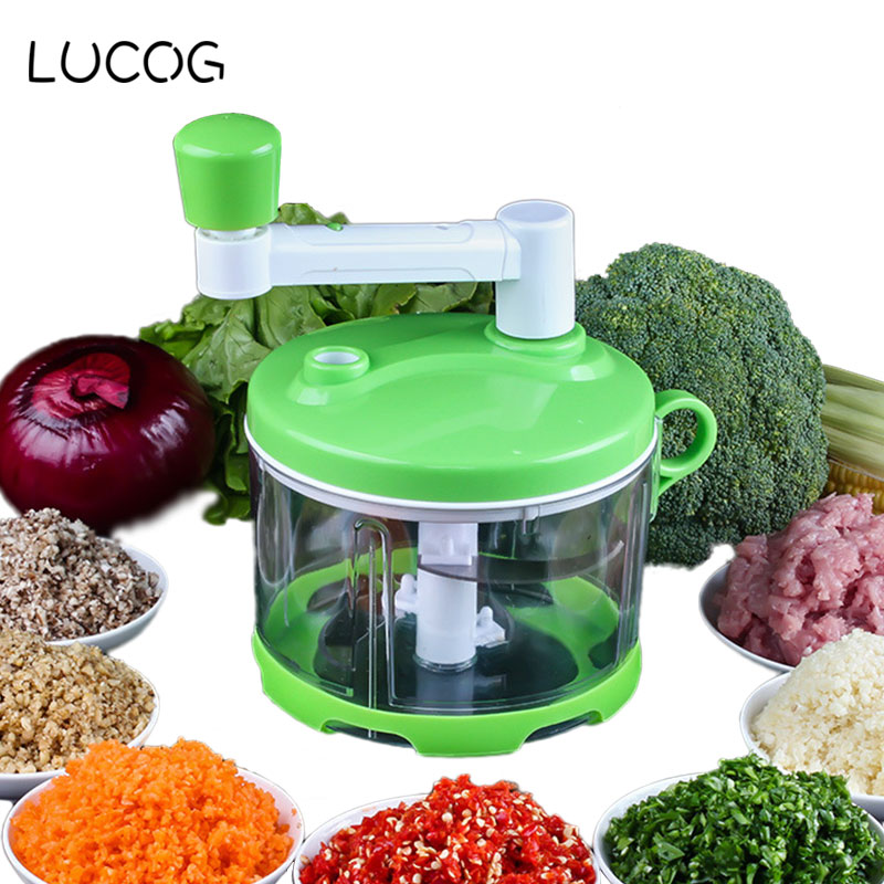 LUCOG 1.7L Kitchen Meat Grinders Mincer for Home Food Processor with Stainless Blade Manual Grinder Mincer for Vegetable Spice lucog multifunctional electrica meat grinder kitchen mincer food processor for meat spice slice juice smoothie maker ice crush