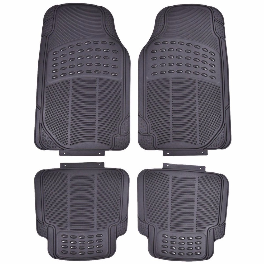 Rubber floor mats kia sorento - 4pcs Cargo Front Rear Floor Mats All Weather Heavy Duty Universal Cars Black At4515bk