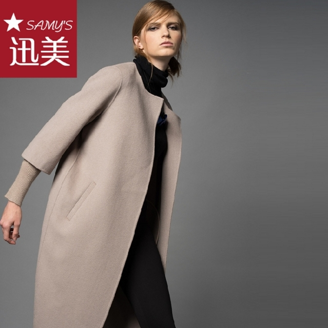 2017 New Winter Autumn High end 100% Wool Coat Women Threaded ...