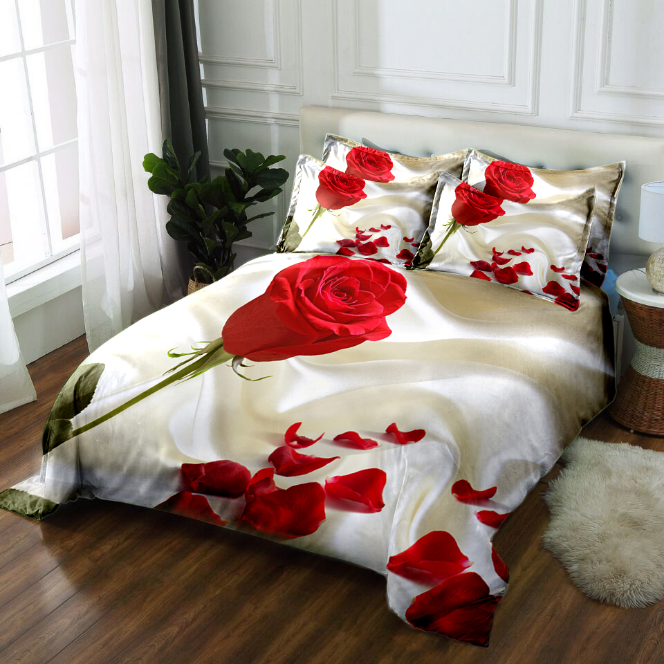 Twin Full king Queen girls wedding Rose bedding set California king 3D bedsheet Duvet bed cover