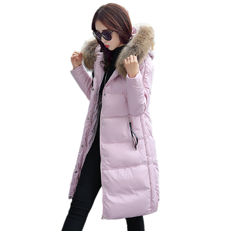 Winter new 100%Polyester fiber White duck down Down jacket women in the long section Korean women thickening Slim fox fur collar