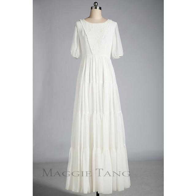 d739c9f9b Maggie Tang Medieval Renaissance Chemise Vintage Summer Beach Long Dress