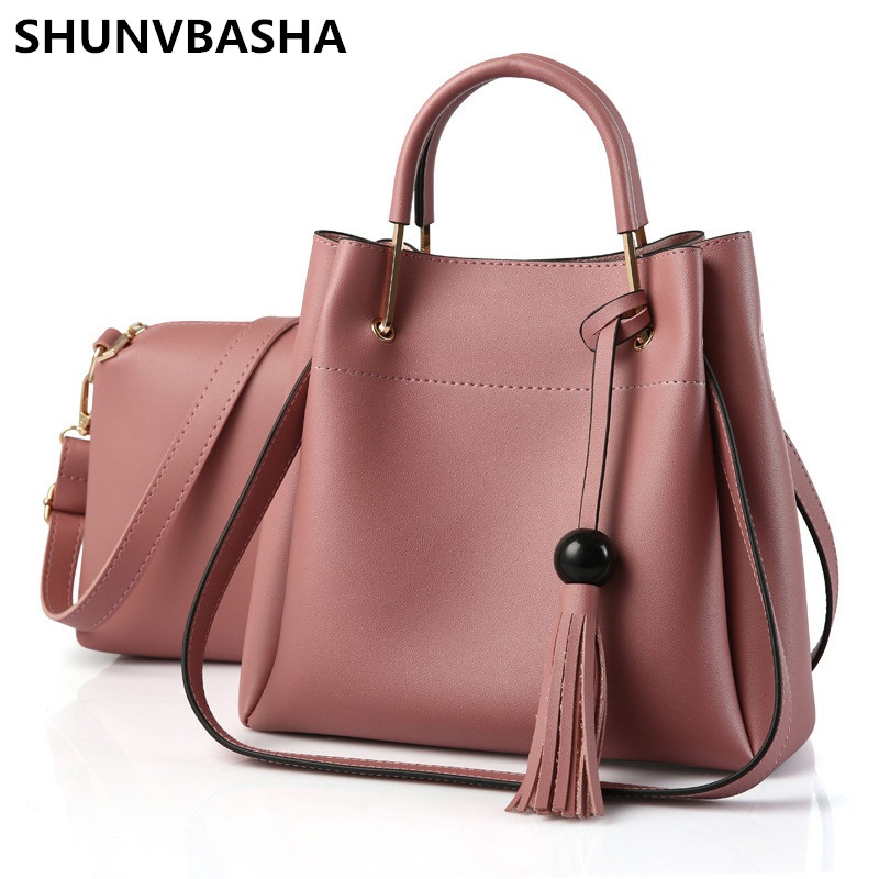 SHUNVBASHA 2017 PU Leather Large Capacity handbag women bag high quality ladies composite bag woman shoulder