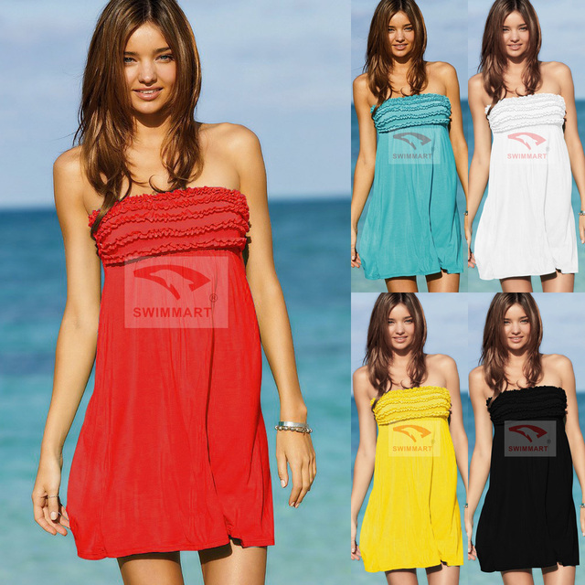 14448ac6a0 Free Shipping Beach Swimsuit Sexy Strapless Ruffle Bandeau Cover-up Dress  Hot Tie Back Pool Party Swimwear with Frills
