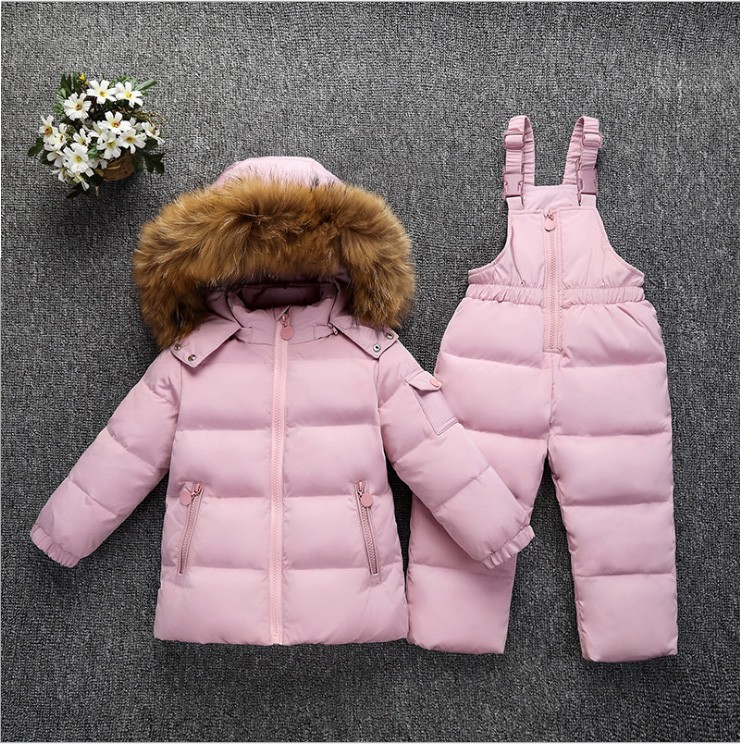2018 Kids Baby girl boy real fur hooded ski Snow suit down parkas Jacket+ jumpsuit girl boy children clothes winter suit sets kids rompers newborn baby girl duck down winter snowsuit baby cute hooded jumpsuit baby boy clothes ski suit red blue jacket