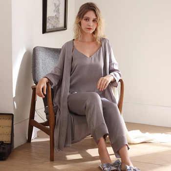 J&Q 2019 Fashion Sleepwear Women Robe Pajamas Set Cami Top+long Bottom+robe 3pcs Elegant Fritillary Satin Robe Set Home Suit Pjs