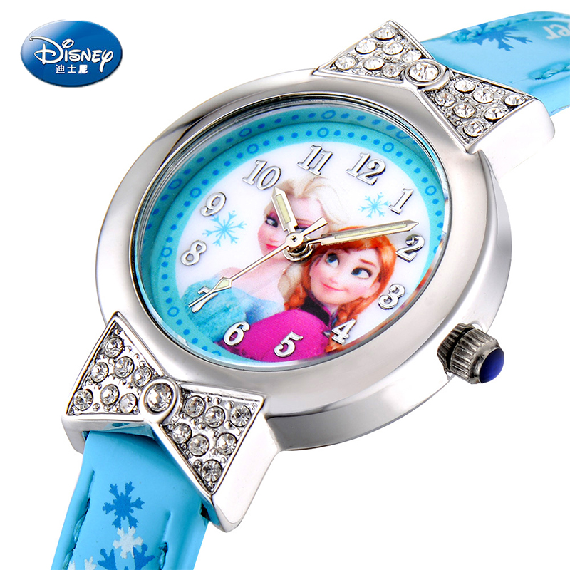 Disney Cartoon Children Watch Princess Elsa Anna Watches Fashion Girl Kids Student Cute Leather Sports Analog Wrist Watches