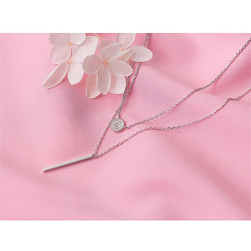 HTB1de7iKf1TBuNjy0Fjq6yjyXXaH INZATT Real 925 Sterling Silver Elegant Double Layer Geometric Pendant Necklace Fine Jewelry For Women Wedding Party Bijoux