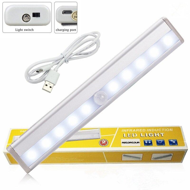 USB Sensor 10 LED Rechargeable Closet Lights Motion Portable Wireless Light Bar Cabinet Kitchen Closet Night Light With Magnet